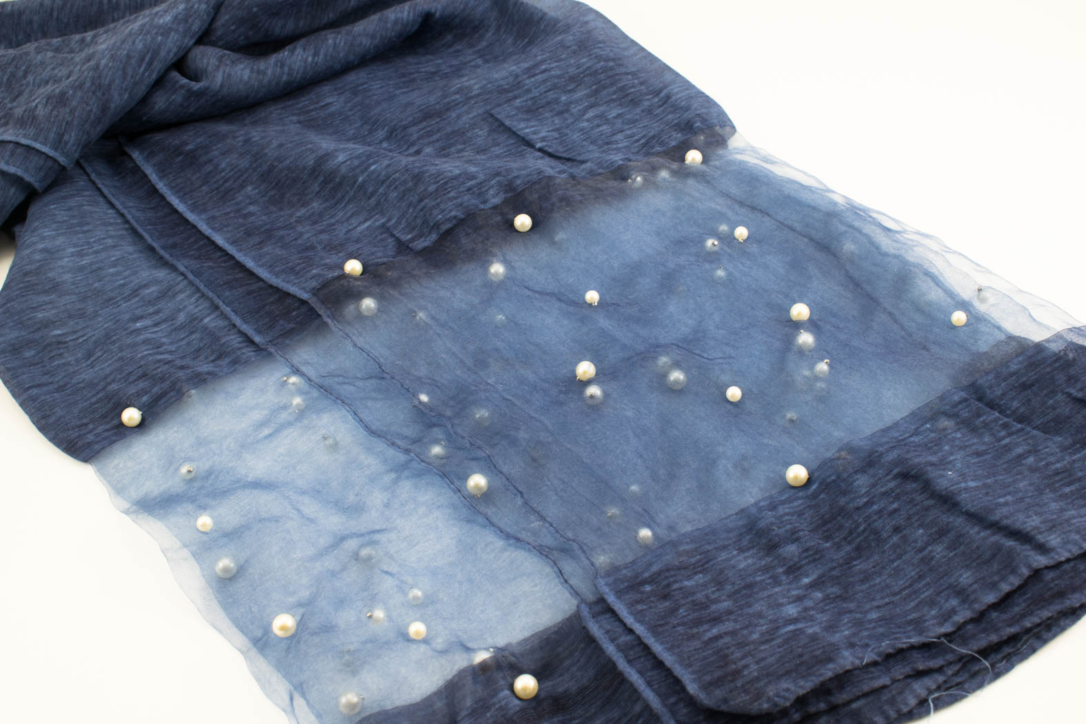Organza Pearl Hijab - Dark Denim - Hidden Pearls