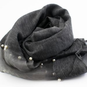 Organza Pearl Hijab - Dark Grey - Hidden Pearls