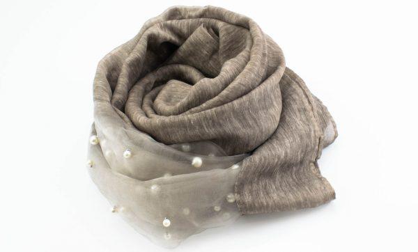 Organza Pearl Hijab - Latte 2 - Hidden Pearls