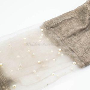 Organza Pearl Hijab - Latte - Hidden Pearls