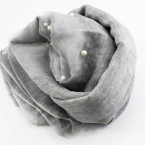 Organza Pearl Hijab - Light Grey - Hidden Pearls