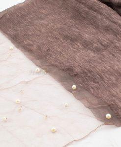 Organza Pearl Hijab - Mauve - Hidden Pearls