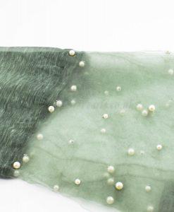Organza Pearl Hijab - Moss 2 - Hidden Pearls