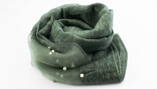 Organza Pearl Hijab - Moss - Hidden Pearls