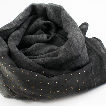 Organza Sparkle Hijab - Dark Charcoal - Hidden Pearls