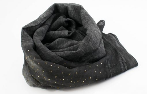 Organza Sparkle Hijab - Dark Charcoal - Hidden Pearls