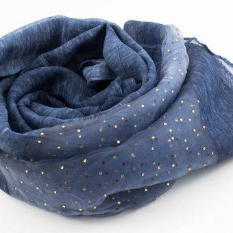 Organza Sparkle Hijab - Denim Blue 2 - Hidden Pearls
