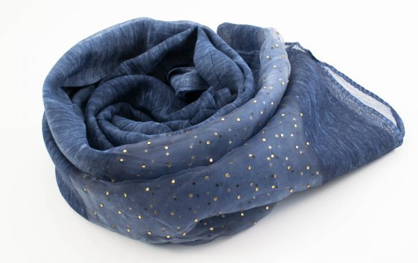 Organza Sparkle Hijab - Denim Blue 2 - Hidden Pearls