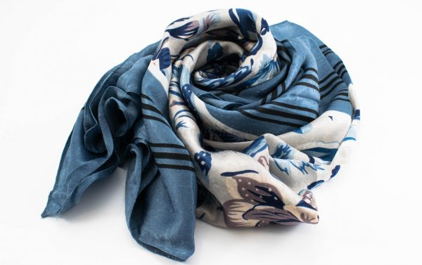 Silk Floral Hijab - Blue - Hidden Pearls