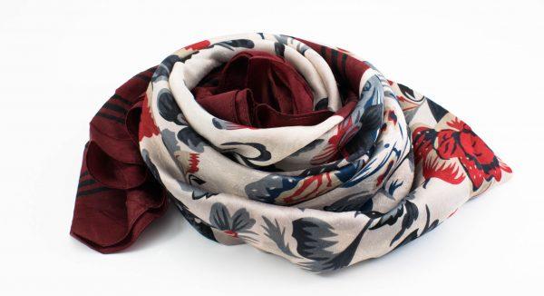 Silk Floral Hijab - Garnet - Hidden Pearls