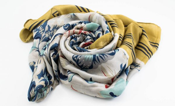 Silk Floral Hijab - Gold 2 - Hidden Pearls