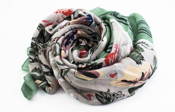 Silk Floral Hijab - Green - Hidden Pearls
