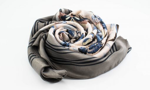Silk Floral Hijab - Platinum- Hidden Pearls