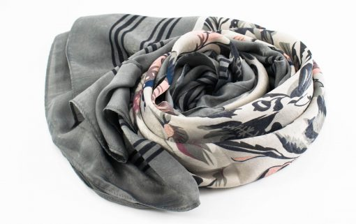 Silk Floral Hijab - Silver - Hidden Pearls