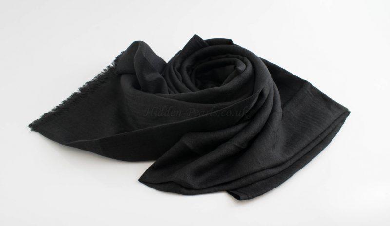 Deluxe Plain Hijabs - Hidden Pearls- Black