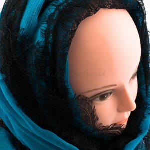 Chiffon Black Lace Hijab - Azure Blue- Hidden Pearls