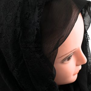 Chiffon Black Lace Hijab - Black 2 - Hidden Pearls