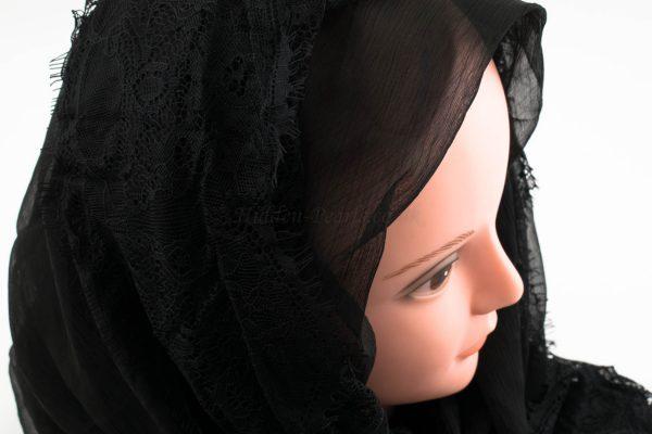 Chiffon Black Lace Hijab - Black 2 - Hidden Pearls