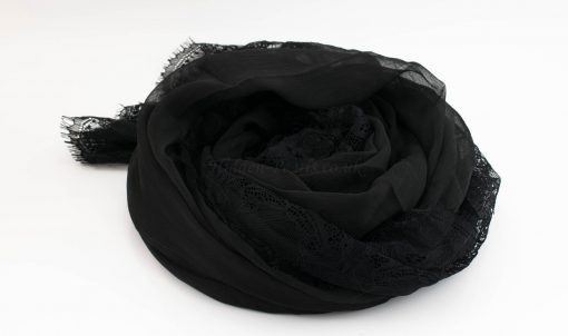 Chiffon Black Lace Hijab - Black - Hidden Pearls