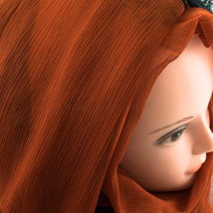 Chiffon Black Lace Hijab - Burnt Orange 2- Hidden Pearls