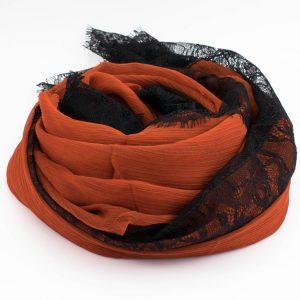 Chiffon Black Lace Hijab - Burnt Orange - Hidden Pearls