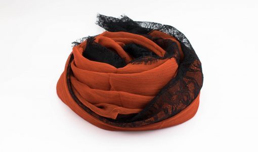 Chiffon Black Lace Hijab - Burnt Orange - Hidden Pearls