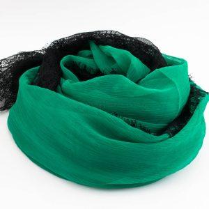Chiffon Black Lace Hijab - Green 2 - Hidden Pearls