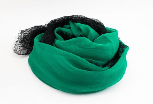 Chiffon Black Lace Hijab - Green 2 - Hidden Pearls