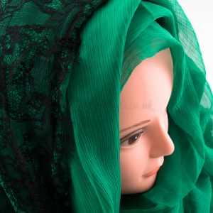 Chiffon Black Lace Hijab - Green - Hidden Pearls