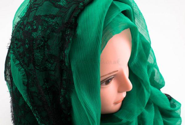 Chiffon Black Lace Hijab - Green - Hidden Pearls