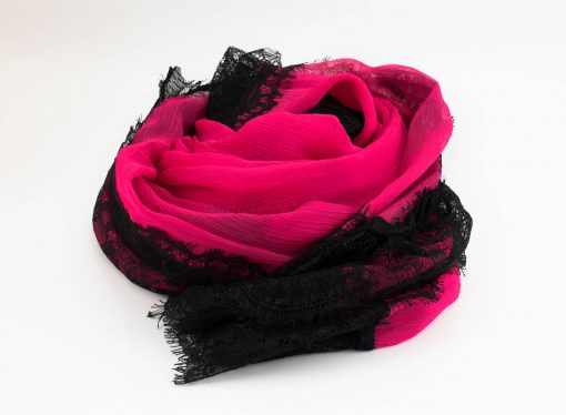 Chiffon Black Lace Hijab - Shocking Pink 2 - Hidden Pearls