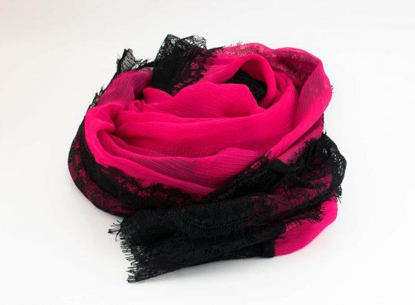 Chiffon Black Lace Hijab - Shocking Pink 2 - Hidden Pearls