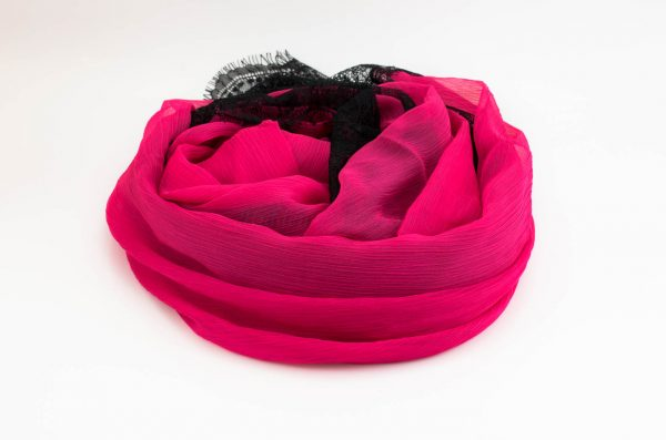 Chiffon Black Lace Hijab - Shocking Pink 3 - Hidden Pearls