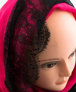 Chiffon Black Lace Hijab - Shocking Pink - Hidden Pearls