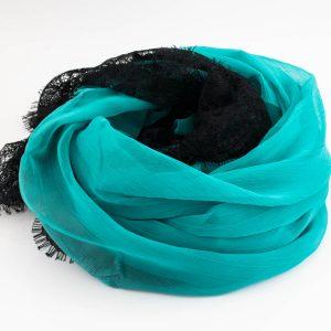 Chiffon Black Lace Hijab - Turquoise 2 - Hidden Pearls