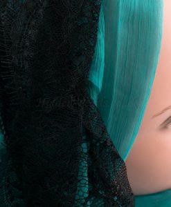 Chiffon Black Lace Hijab - Turquoise - Hidden Pearls