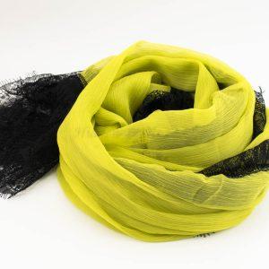 Chiffon Black Lace Hijab - Yellow 2 - Hidden Pearls
