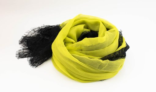 Chiffon Black Lace Hijab - Yellow 2 - Hidden Pearls