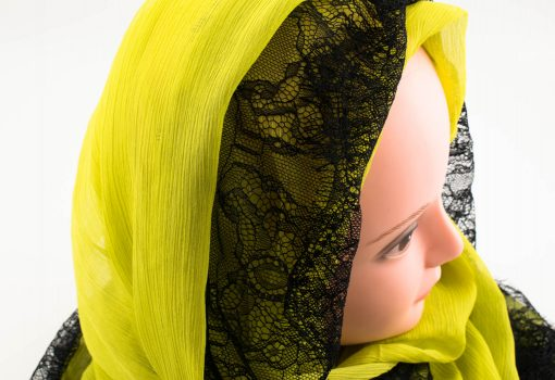 Chiffon Black Lace Hijab - Yellow - Hidden Pearls