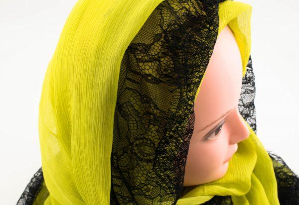 Chiffon Black Lace Hijab - Yellow - Hidden Pearls