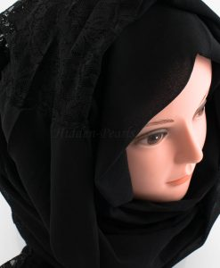 Chiffon Lace Hijab - Black 2 - Hidden Pearls