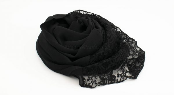 Chiffon Lace Hijab - Black - Hidden Pearls