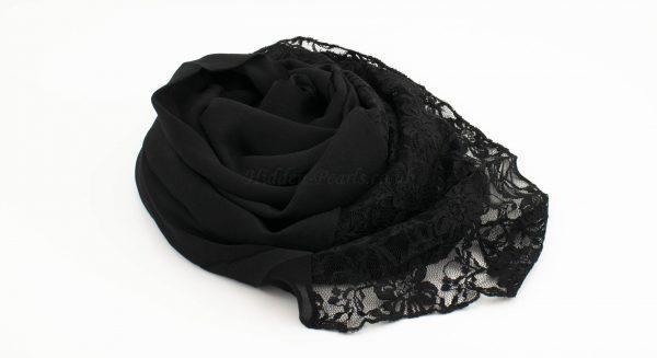 Chiffon Lace Hijab - Black - Hidden Pearls