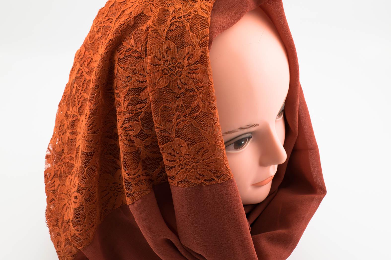 Chiffon Lace Hijab - Black 2 - Hidden Pearls