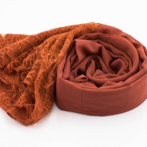 Chiffon Lace Hijab - Burnt Orange- Hidden Pearls