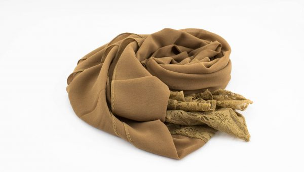 Chiffon Lace Hijab - Caramel 2 - Hidden Pearls