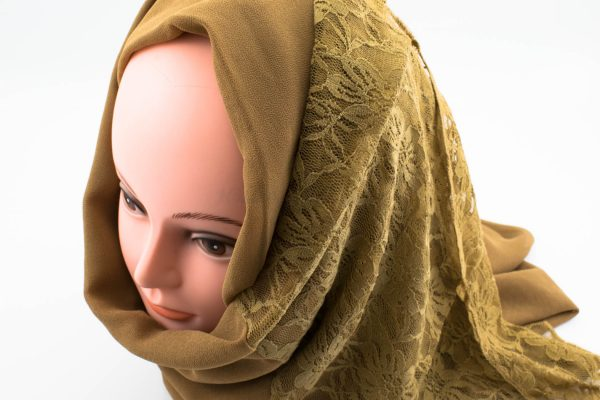 Chiffon Lace Hijab - Caramel - Hidden Pearls