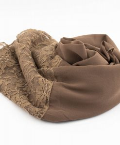 Chiffon Lace Hijab - Coffee 2 - Hidden Pearls