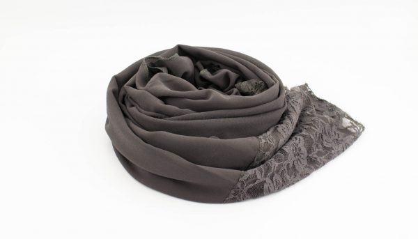 Chiffon Lace Hijab - Dark Grey 2 - Hidden Pearls