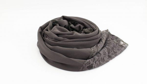 Chiffon Lace Hijab - Dark Grey 2 - Hidden Pearls